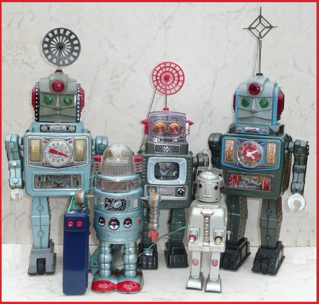 Group of 5 Alps Robots and Spaceman