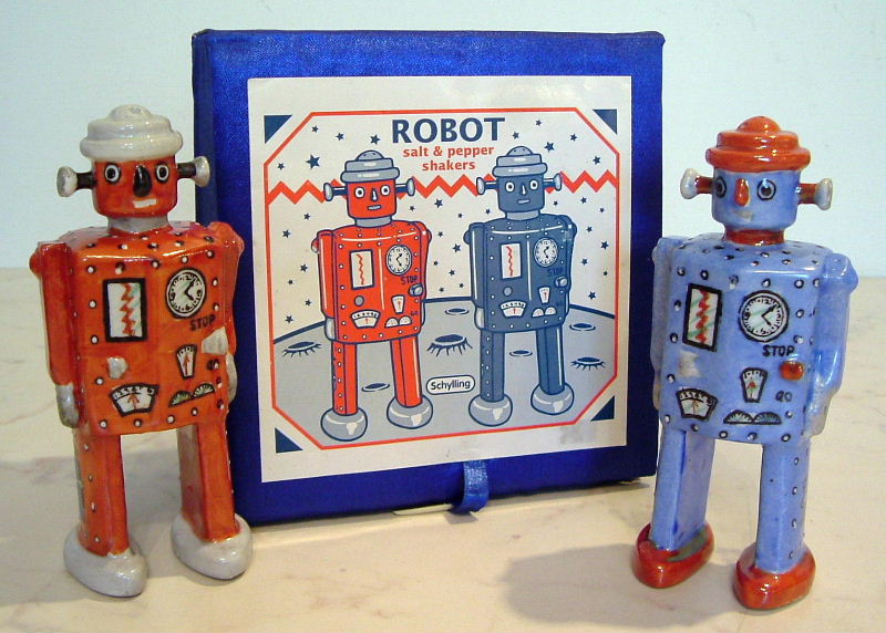 Schylling robot salt pepper ceramic shakers collecting Salt and pepper robots